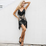 Elegant V Neck Halter Sequined Black Lace Dress