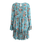 Lace Up Floral Print Long Sleeve Ruffle Loose Casual Short Dress