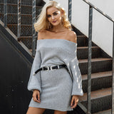 Off shoulder Long knitted sweater dress elegant loose winter pullover dress