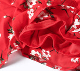 Red Off Shoulder Floral Print Ruffle Playsuits