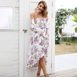 Off Shoulder Print Elegant High Waist Irregular Smocking Dress