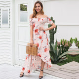 Off shoulder Print Dress High Waist Elegant Long Dress