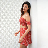 Off Shoulder Two-Piece Floral Print Vintage Party Bow Tie Short Dress