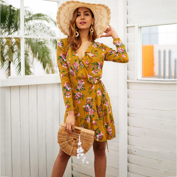 V Neck Long Sleeve Ruffle Print Wrap Dress