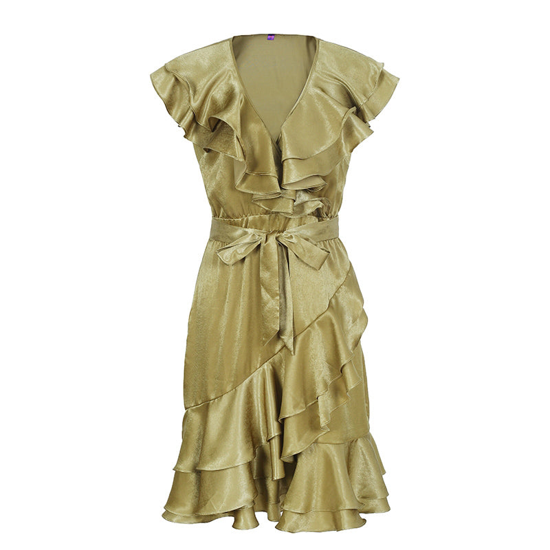 Ruffle Sleeve V Neck High Waist Satin Midi Summer Dress