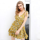 Backless Padded Print V Neck Strap Yellow Summer Short Dress