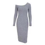 Cold Shoulder Long Sleeve Solid Slim Skinny Dress