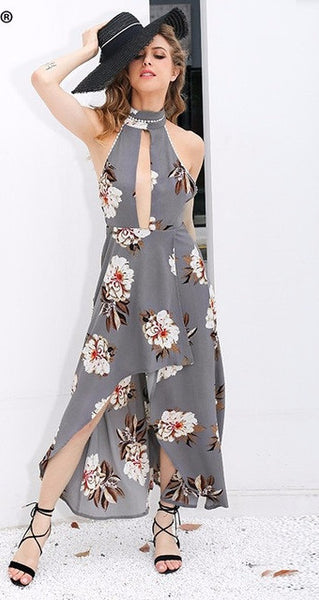 Grey Halter Floral Print Lace Trim Asymmetrical Long Dress