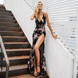 Lace Up Halter Sequin Backless High Split Maxi Long Dress