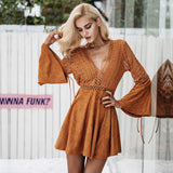 Lace Up V Neck Lace Hollow Out Flare Sleeve Winter Dress