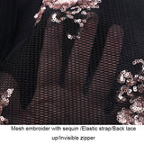 Embroidery Sequin Elastic Strap Lace Up Backless Zipper Black Mini Dress