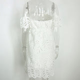 off shoulder white lace dress elegant  dress casual