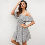 Off Shoulder Ruffle Dot Casual Chiffon Short Elegant Mini Dress