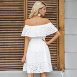Off Shoulder Ruffle Lace Up Casual White Short Dress