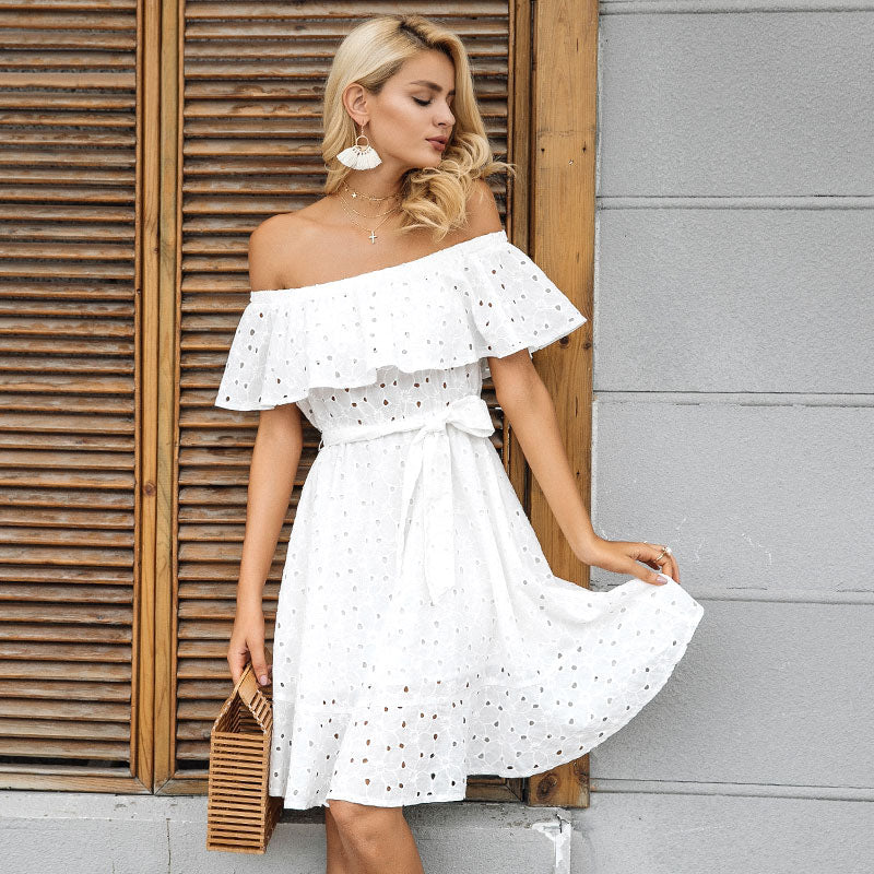 074e076a21e2 Off Shoulder Ruffle Lace Up Casual White Short Dress – Crystalline