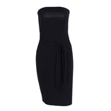 Strapless Black Elegant Bow Black Sleeveless Dress