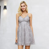 V Neck Strap Lace Elegant Mini Winter Dress