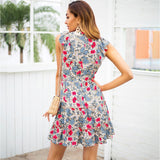 Sleeveless Ruffle V Neck High Waist Chic Floral Mini Dress