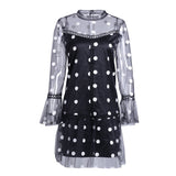 Black Loose O Neck Flare Sleeve Dot Short Mini Dress