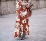Brown Floral Print Split Long Skirt