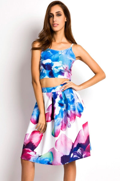 39c0353eb3c8 Summer Floral Midi Skirt and Cami Crop Top Floral Print Matching Set –  Crystalline