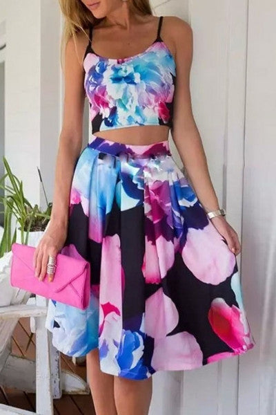 Summer Floral Midi Skirt and Cami Crop Top Floral Print Matching Set - Crystalline