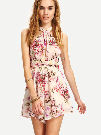 Summer Floral Playsuit Boho Chic Crisscross Flower Print Romper - Crystalline