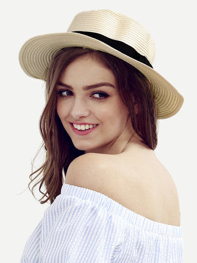 Summer Fun Trendy Cream Bow Decorated Beach Hat - Crystalline