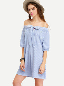 Summer Off The Shoulder Striped Bow Cute Blue White Mini Dress - Crystalline