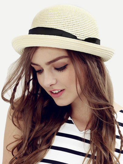 Summer Trendy Cream Bow Decorated Dome Straw Hat - Crystalline