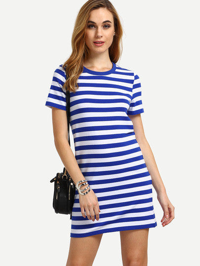 Summer White and Blue Short Sleeve Striped Casual Dress - Crystalline