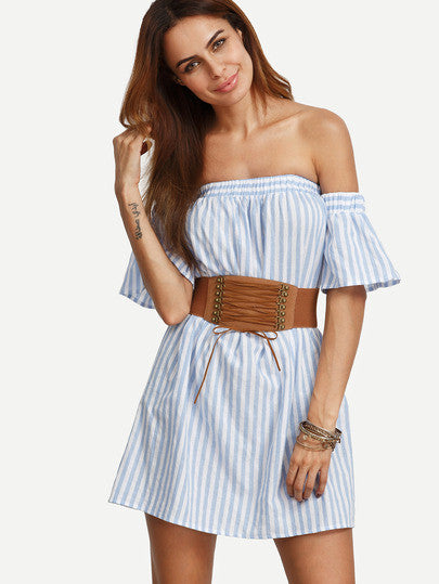 Trendy Summer Blue Striped Off The Shoulder Ruffle Dress - Crystalline