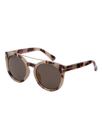 Trendy Women's Brown Frame Top Bar Oversized Round Sunglasses - Crystalline