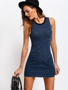 Trendy Summer Mini Dress Blue Sleeveless Knot Bodycon Dress Denim Look - Crystalline