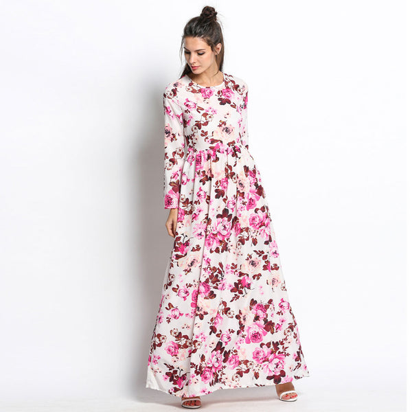 New Women Summer Maxi Three Quarter Sleeve Floral Print Party Elegant Long Dress