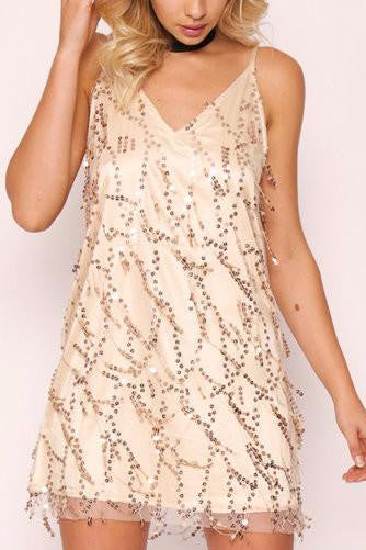 Gold V-Neck Spaghetti Strap Sequin Mini Cami Dress