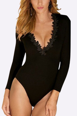Black V Neck Lace Bodysuits