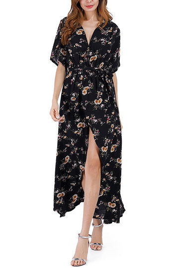Black V-Neck Dainty Flower Print Self-Tie Front Slit Maxi Dress