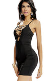 Black Criss-Cross Hollout Out Mini Dress