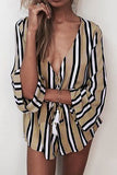 Khaki Contrast Stripe Pattern V-Neck Tassel Playsuit