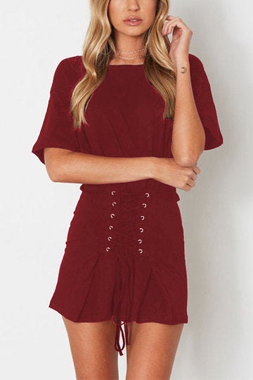 Burgundy Round Neck Half Sleeve Lace Up Mini Dress