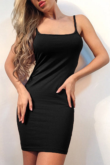 Black Square Neckline Spaghetti Strap Bodycon Dress