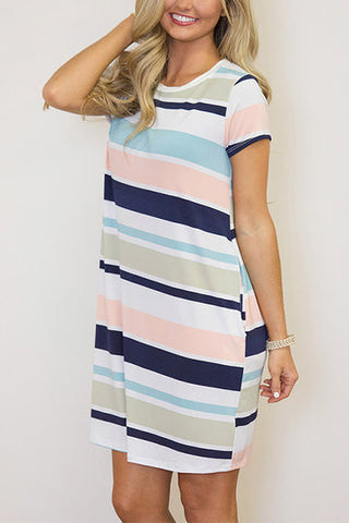 Multicolor Stripe Short Sleeve Round Neck Loose Dress
