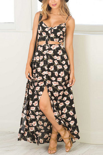 Black Floral Print Cutout Split Hem Cami Dress