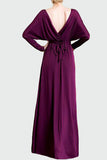 Purple V-Neck Wrap Long Sleeve Maxi Dress