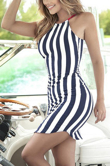 Navy Vertical Stripe Halter Backless Curved Hem Dress