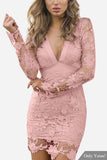 Pink V-Neck Hollow Back Lace Dress