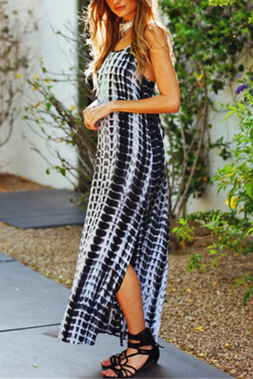Black Random Print Cross Cut-Out Back Side Split Dress