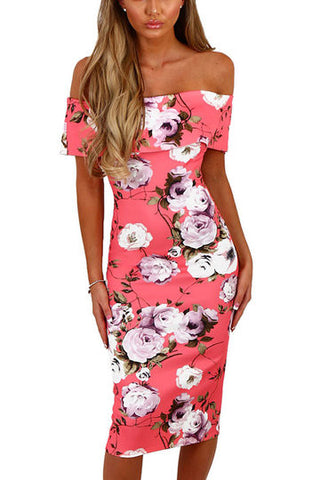 Pink Floral Print Off Shoulder Layered Cut-Out Back Midi Dress