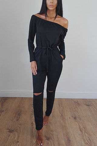 Black Off Shoulder Long Sleeve Jumpsuit